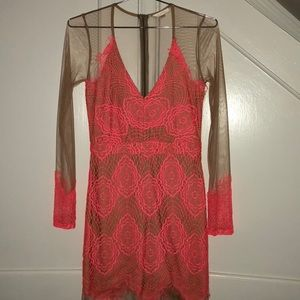 Luxxel sheer and hot pink dress